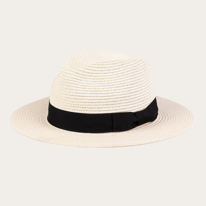 oblique view of ladies white wide brim straw fedora hat with black ribbon