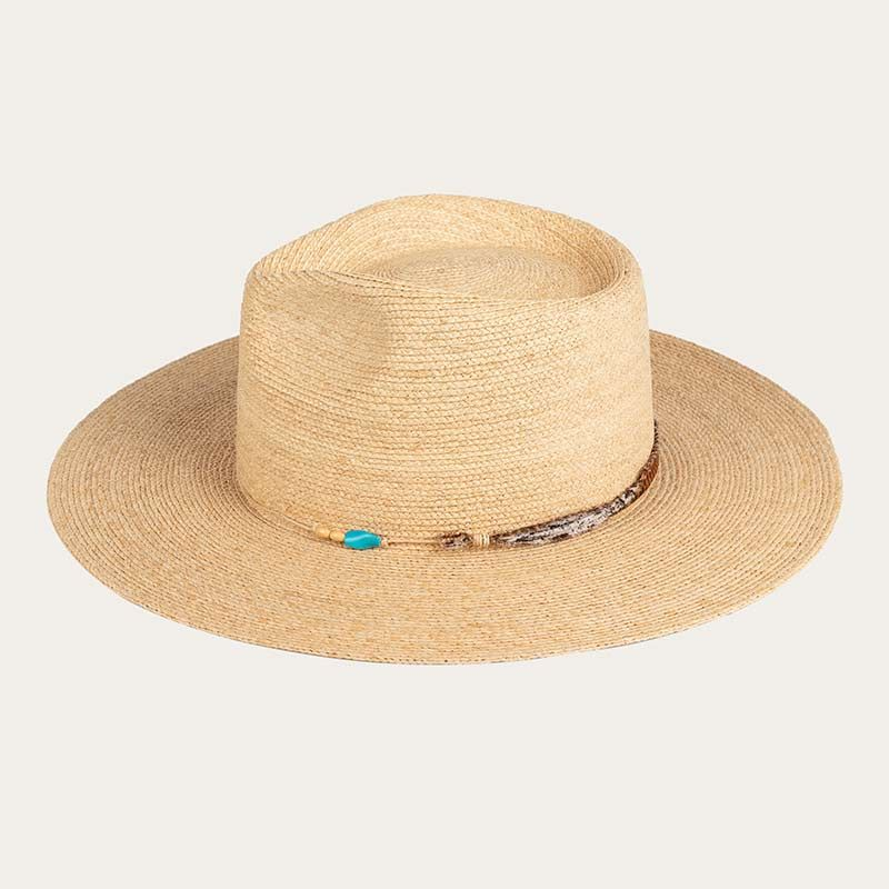 side view of wide brim mens straw sun hat