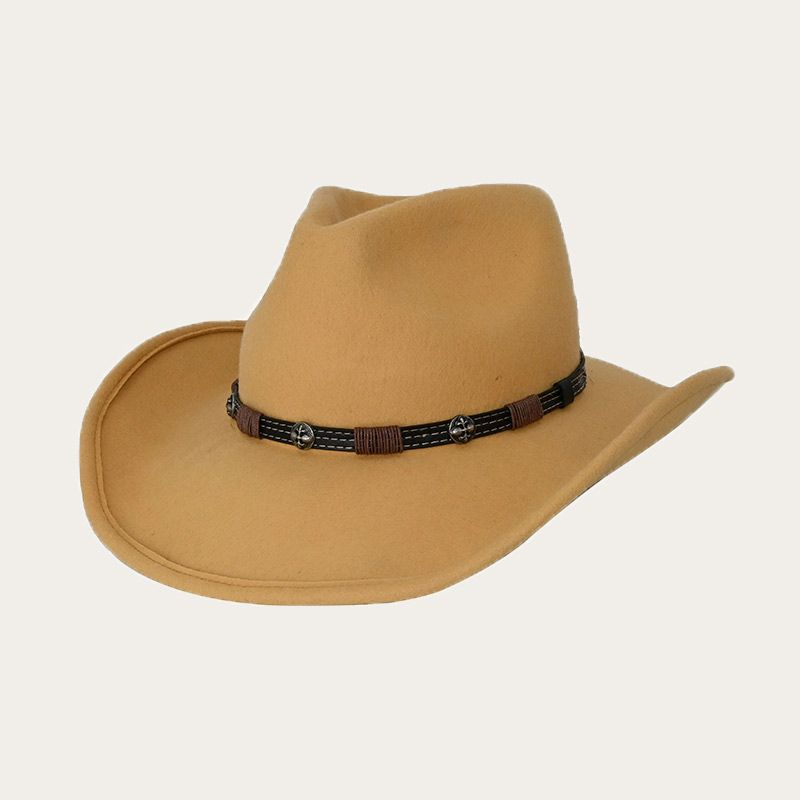 oblique view of yellow pinch front cowboy hat