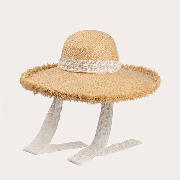Womens Cute Straw Hat Floppy Brim Beach Hat With White Ribbon