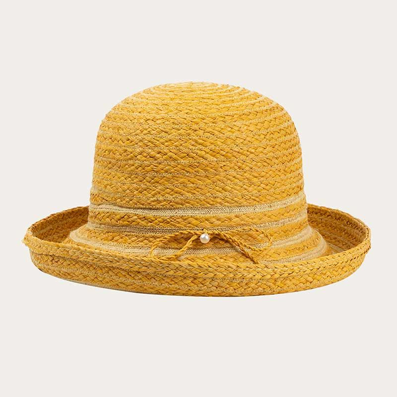 front view of yellow straw bowler hat with yellow hat band