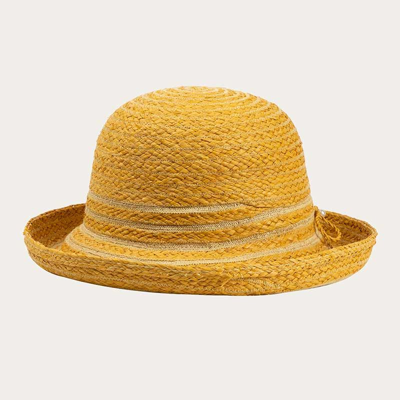 side view of yellow straw bowler hat with yellow hat band