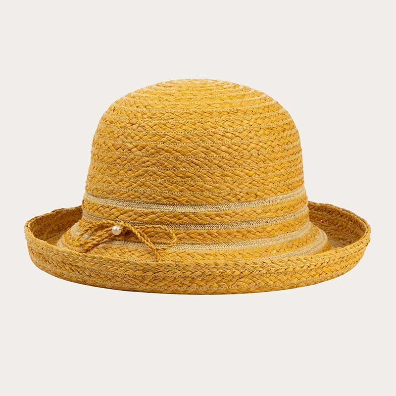 oblique view of yellow straw bowler hat with yellow hat band