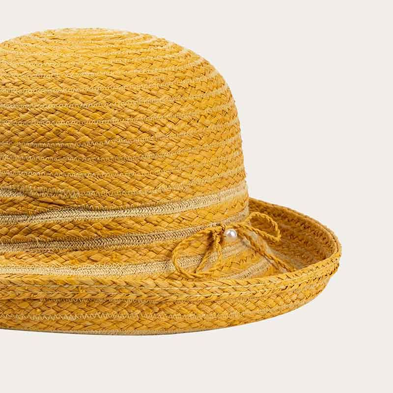 detail of yellow straw bowler hat with yellow hat band