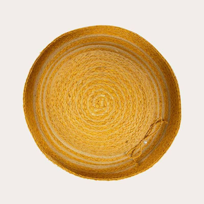 top view of yellow straw bowler hat with yellow hat band