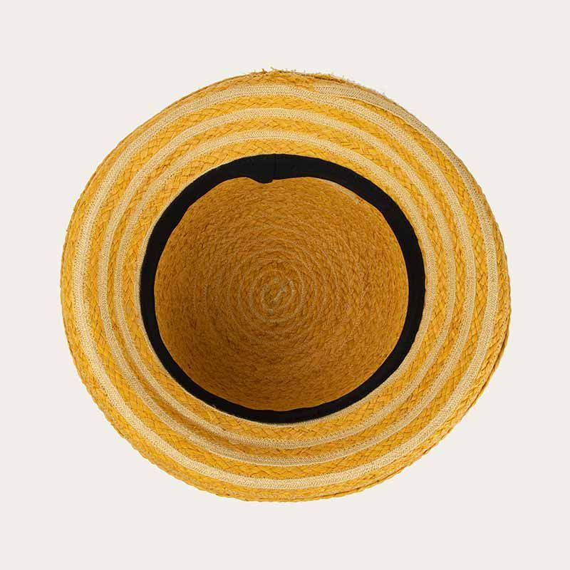 inside view of yellow straw bowler hat with yellow hat band