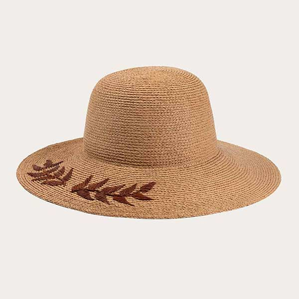 Custom Embroidered Straw Hats Raffia Straw Braid Beach Hat