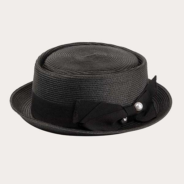Womens Black Straw Hat With Bowknot Pork Pie Style PP Braid Material